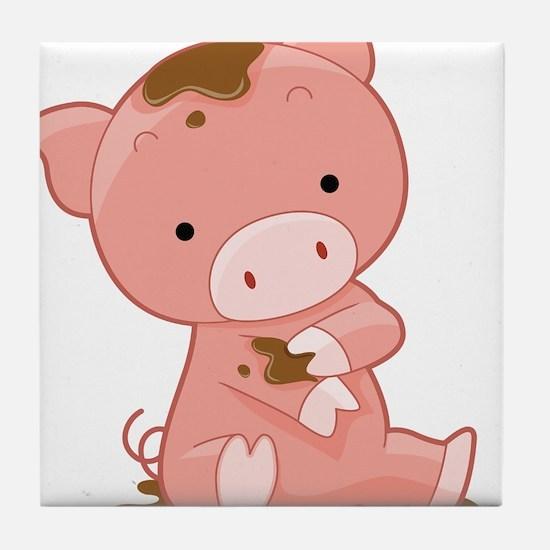 Pig in Mud Tile Coaster