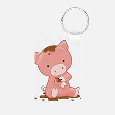 Pig in Mud Keychains