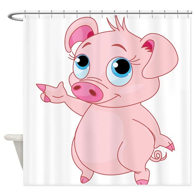 Cute Pig Shower Curtain By WorldofAnimals
