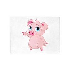 Cute Pig 5'x7'Area Rug