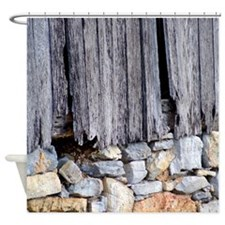 Weathered Wood and Old Stone Shower Curtain