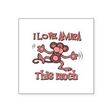"I Love Amira Square Sticker 3"" x 3"""