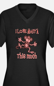 I Love Amiya Women's Plus Size V-Neck Dark T-Shirt