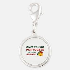 Portuguese smiley designs Silver Round Charm