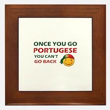 Portuguese smiley designs Framed Tile