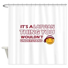 Latvian smiley designs Shower Curtain