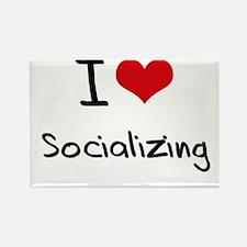 I love Socializing Rectangle Magnet