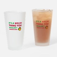 Welsh smiley designs Drinking Glass