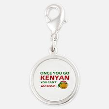 Kenyan smiley designs Silver Round Charm