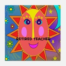 Retired Teacher sun moon pillow Tile Coaster