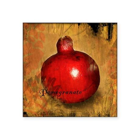 "Botanical Pomegranate Square Sticker 3"" x 3"""