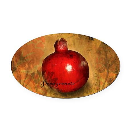 Botanical Pomegranate Oval Car Magnet