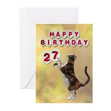 27th birthday with a cat Greeting Cards (Pk of 10)