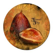 Botanical Fresh Fig Round Car Magnet