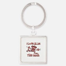 I love Allie this much Square Keychain