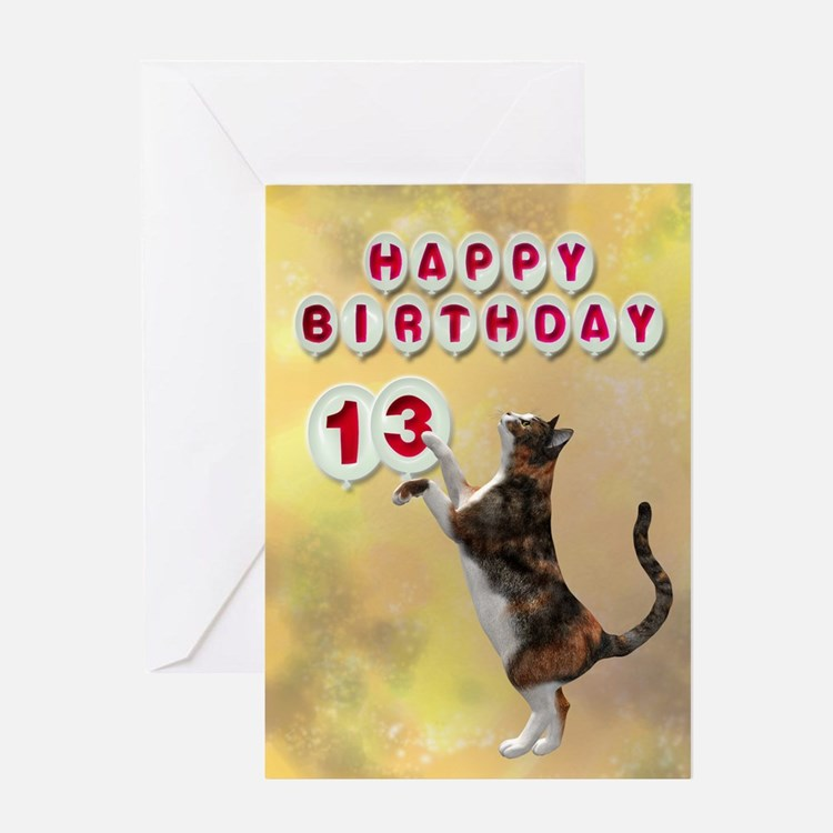 13th birthday with a cat Greeting Card