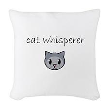 cat whisperer.PNG Woven Throw Pillow
