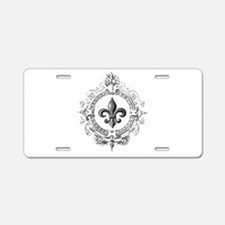 Vintage French Fleur de lis Aluminum License Plate