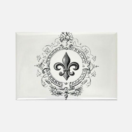 Vintage French Fleur de lis Rectangle Magnet