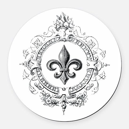 Vintage French Fleur de lis Round Car Magnet