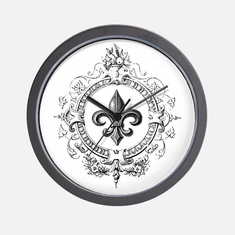 Vintage French Fleur de lis Wall Clock