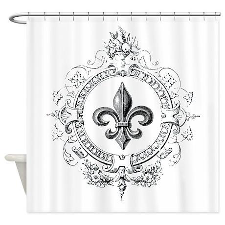 Vintage french fleur de lis shower curtain by designsbyheathermyers1 - Fleur de lis shower curtain hooks ...