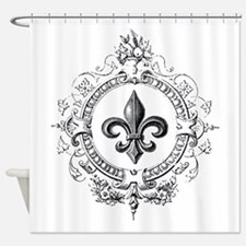 Vintage French Fleur de lis Shower Curtain