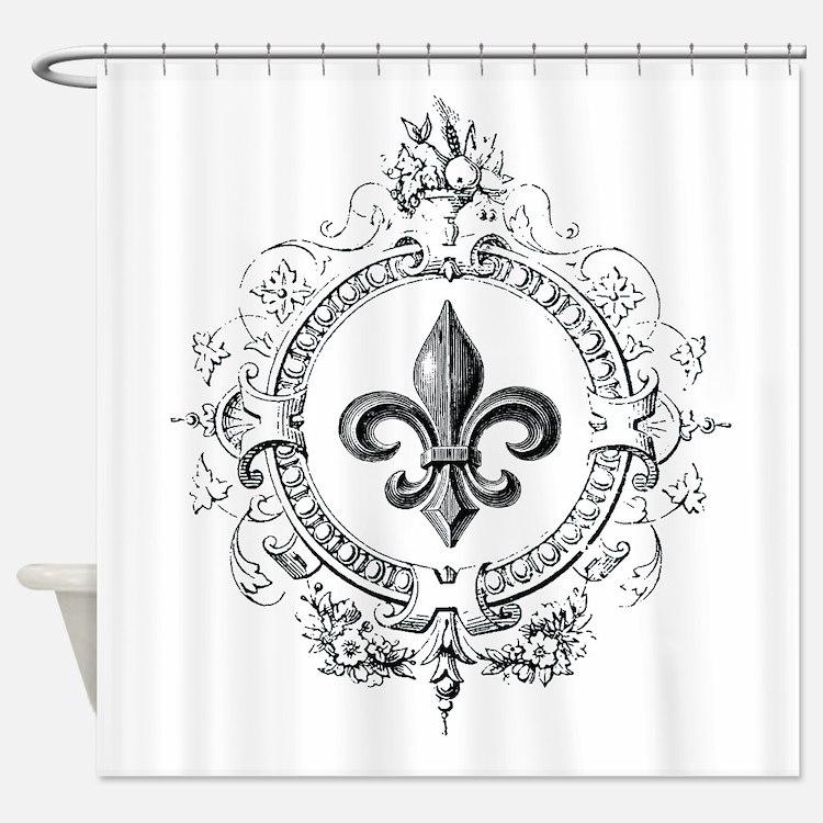 Vintage French Fleur de lis Shower Curtain. Fleur De Lis Bathroom Accessories   Decor   CafePress