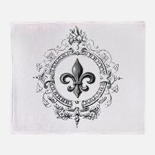 Vintage French Fleur de lis Throw Blanket