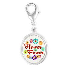 Flower Power Fun Silver Oval Charm