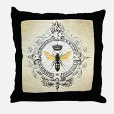 Vintage French Queen Bee Throw Pillow