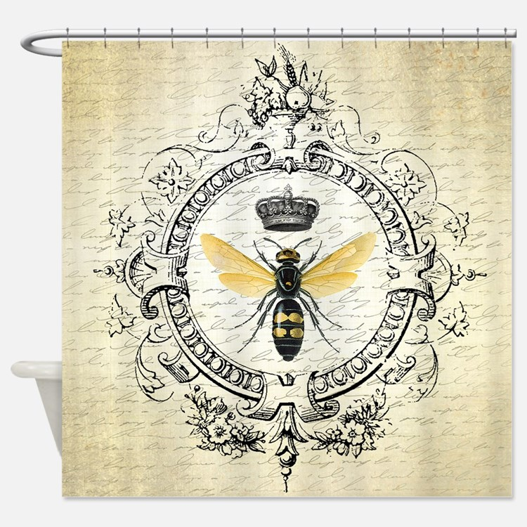 Vintage French Queen Bee Shower Curtain