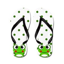 Cute Frogs and Polka Dots Flip Flops