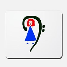Red headed female in blue dress bass clef Mousepad