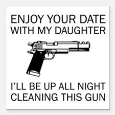 """Cleaning This Gun Square Car Magnet 3"""" x 3"""""""