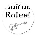 Guitar Rules Round Car Magnet