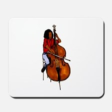 Female orchestra bass player red shirt Mousepad
