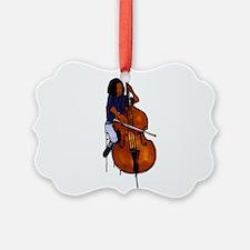 Female orchestra bass player blue shirt Ornament