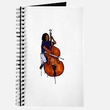 Female orchestra bass player blue shirt Journal