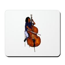 Female orchestra bass player blue shirt Mousepad