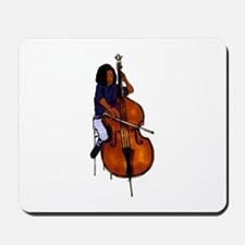 Female orchestra bass player blue shirt Mousepad