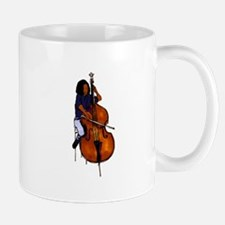 Female orchestra bass player blue shirt Mug