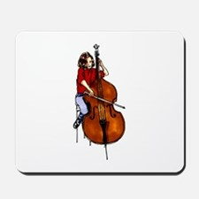 Red shirted orchestra bass player Mousepad
