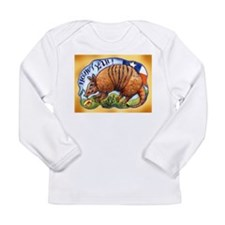 Armadillo with Yellow Rose Long Sleeve T-Shirt