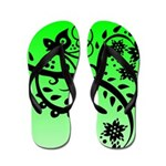 Pretty Black Floral and Butterfly Art Flip Flops