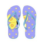 Yellow Butterfly and Polka Dots Flip Flops