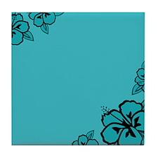 Teal Blue and Black Hibiscus Flower Print Tile Coa