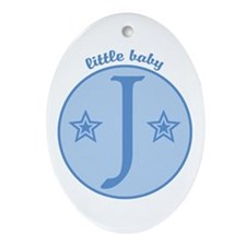 Baby J Oval Ornament