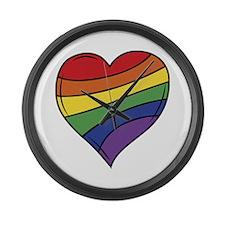 Rainbow Heart Large Wall Clock