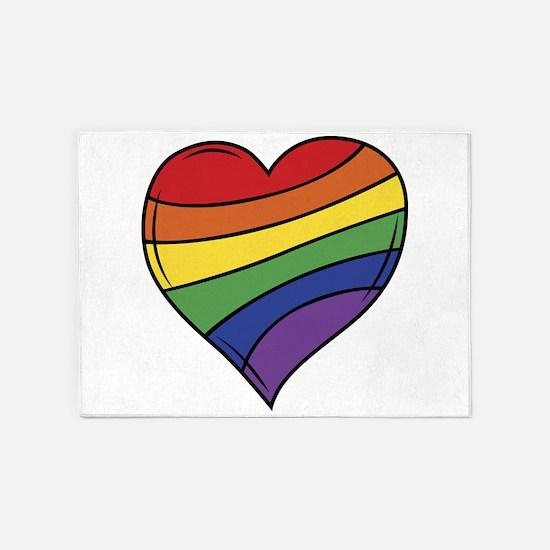 Rainbow Heart 5'x7'Area Rug